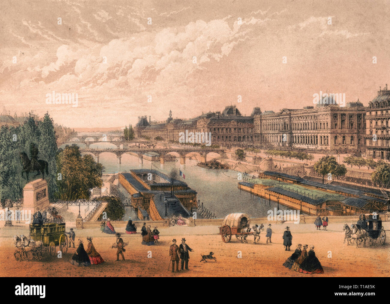 Paris. Le Louvre et les Tuileries vue prise du Pont Neuf - Print shows a bird's-eye view of the Louvre and the Tuileries Palace, from above the Pont Neuf, Paris, France, with pedestrians, stagecoaches, and a covered wagon on the bridge in the foreground. - Stock Image