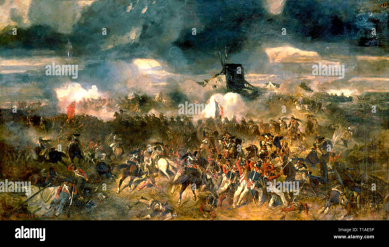 Oil painting - Battle of Waterloo. 18th of June 1815 - Stock Image
