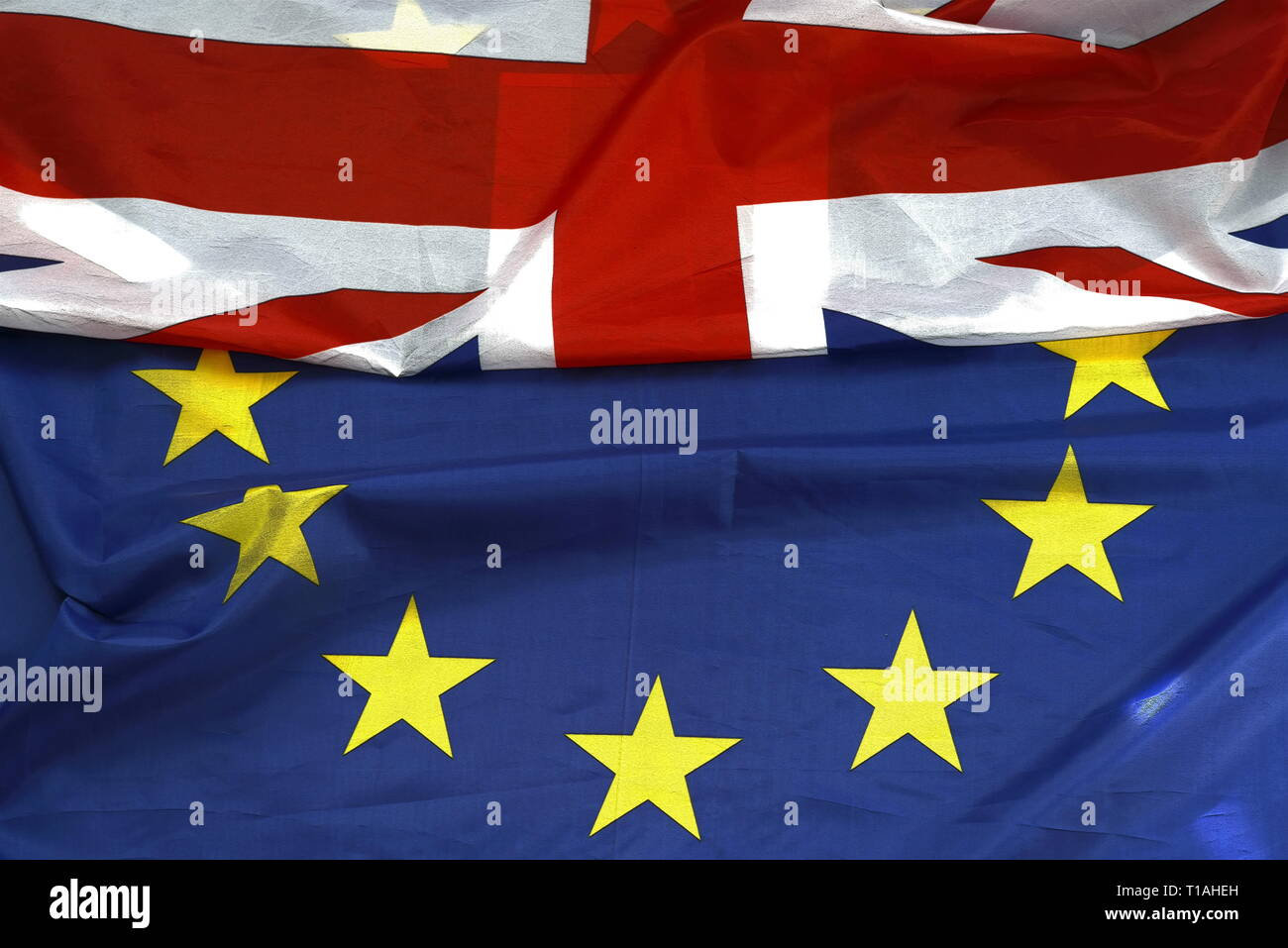 United Kingdom and European union flags combined - Stock Image