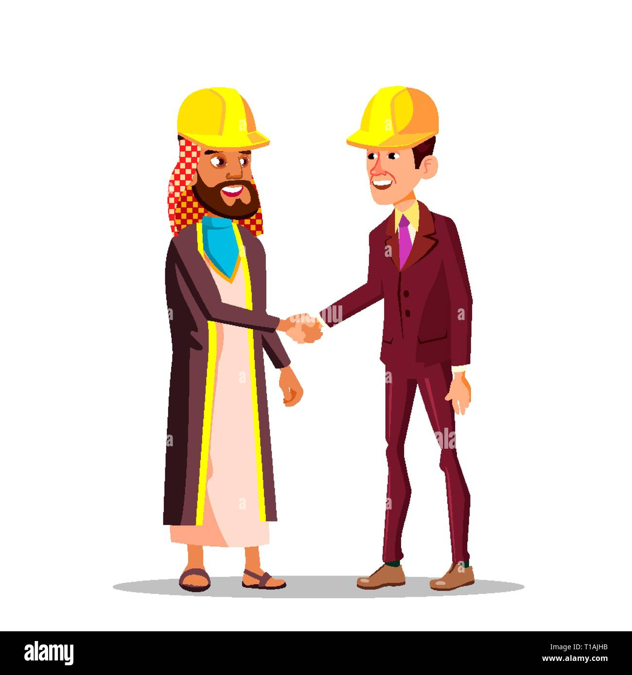 Realtors And Construction Business. Arabian Businessmen And Caucasian Shaking Hands In Yellow Helmets Vector Flat Cartoon Illustration - Stock Vector