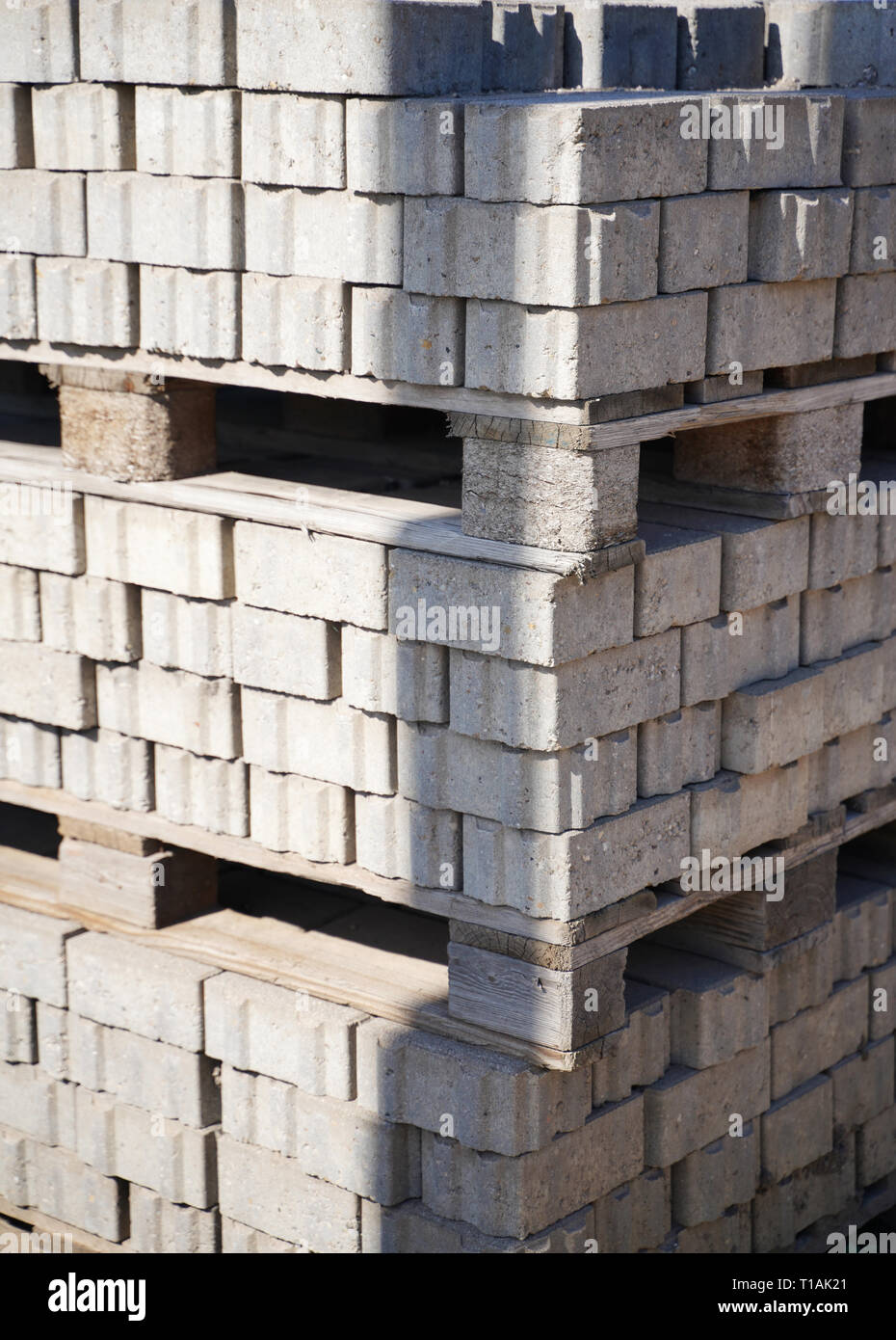 Stone building material stacked on a pallet - Stock Image