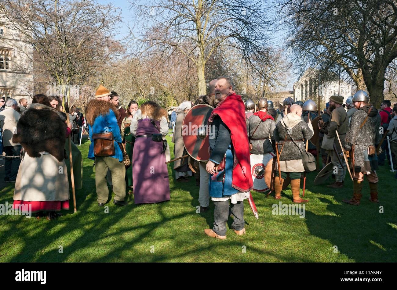 People in costume at the Viking Festival Dean's Park York North Yorkshire England UK United Kingdom GB Great Britain Stock Photo
