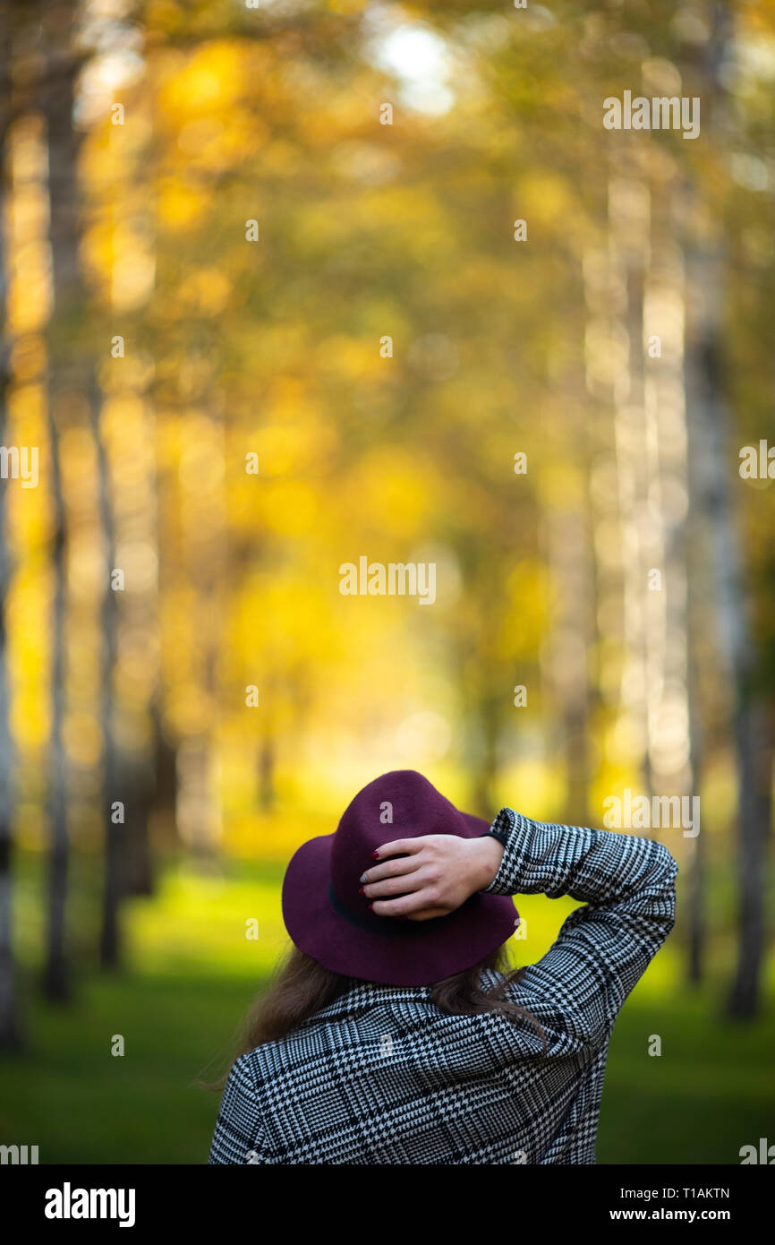 Image from back of woman in hat on blurred background - Stock Image