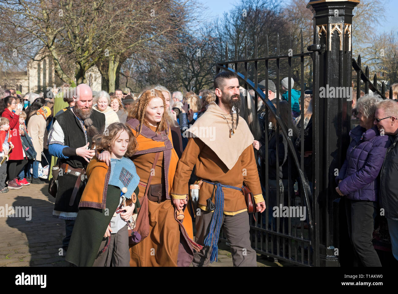 Procession of people in costume at the Viking Festival York North Yorkshire England UK United Kingdom GB Great Britain Stock Photo