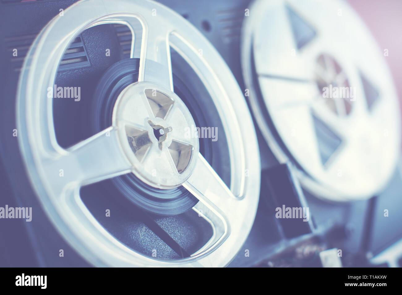 retro audio reel to reel recorder closeup - Stock Image