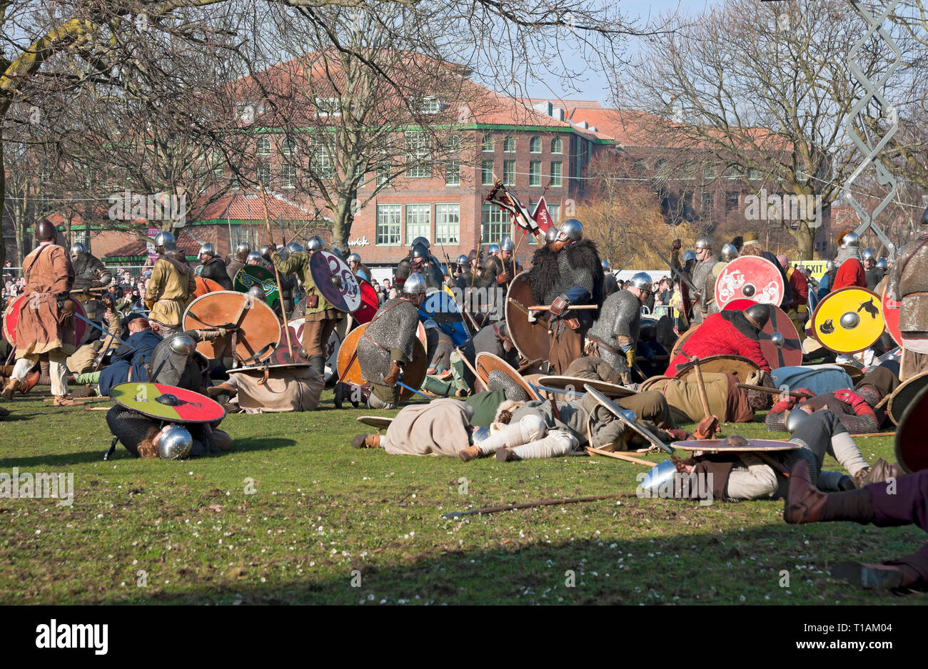 Battle between Vikings and Anglo Saxons at the Viking Festival York North Yorkshire England UK United Kingdom GB Great Britain - Stock Image
