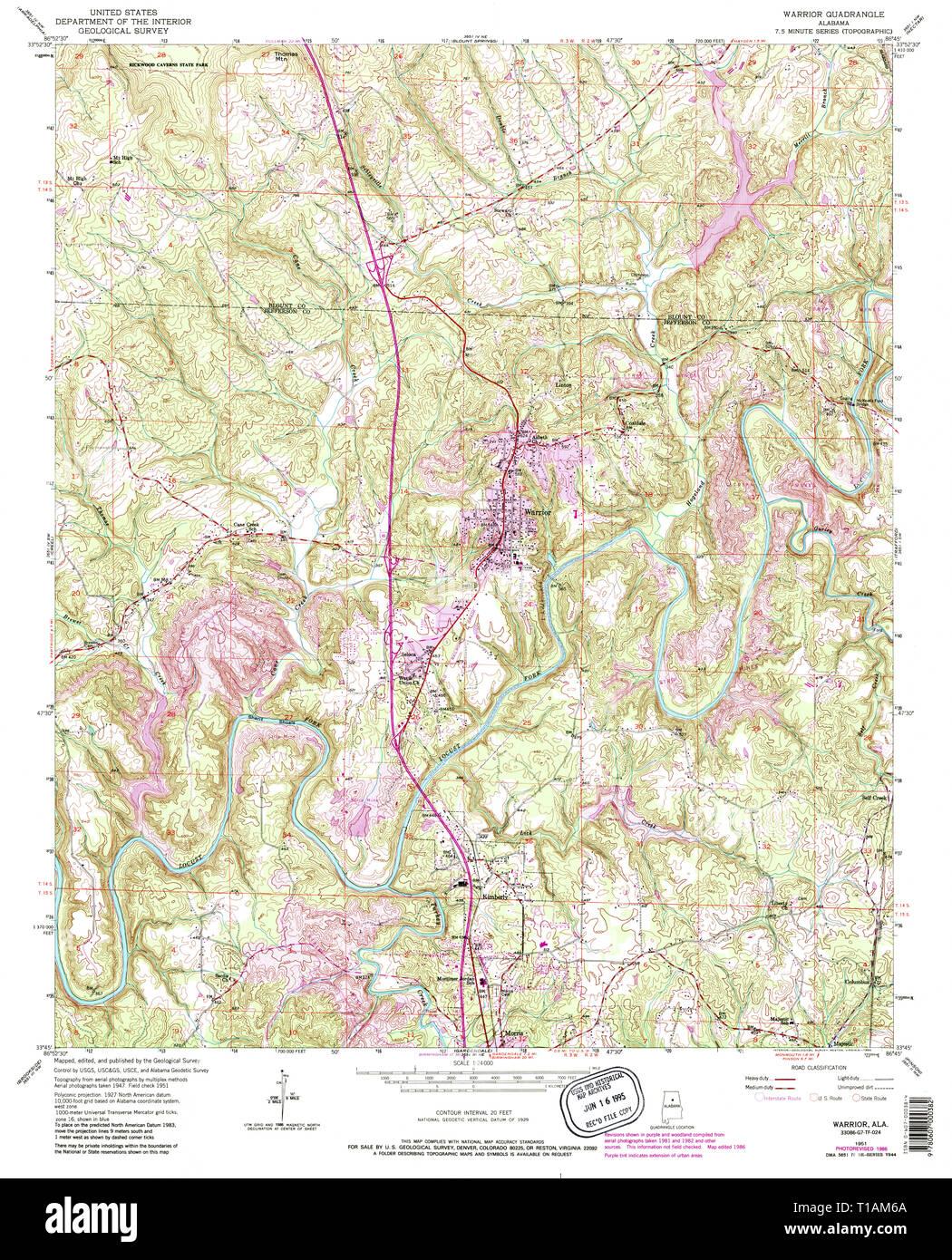 USGS TOPO Map Alabama AL Warrior 305326 1951 24000 Stock ...