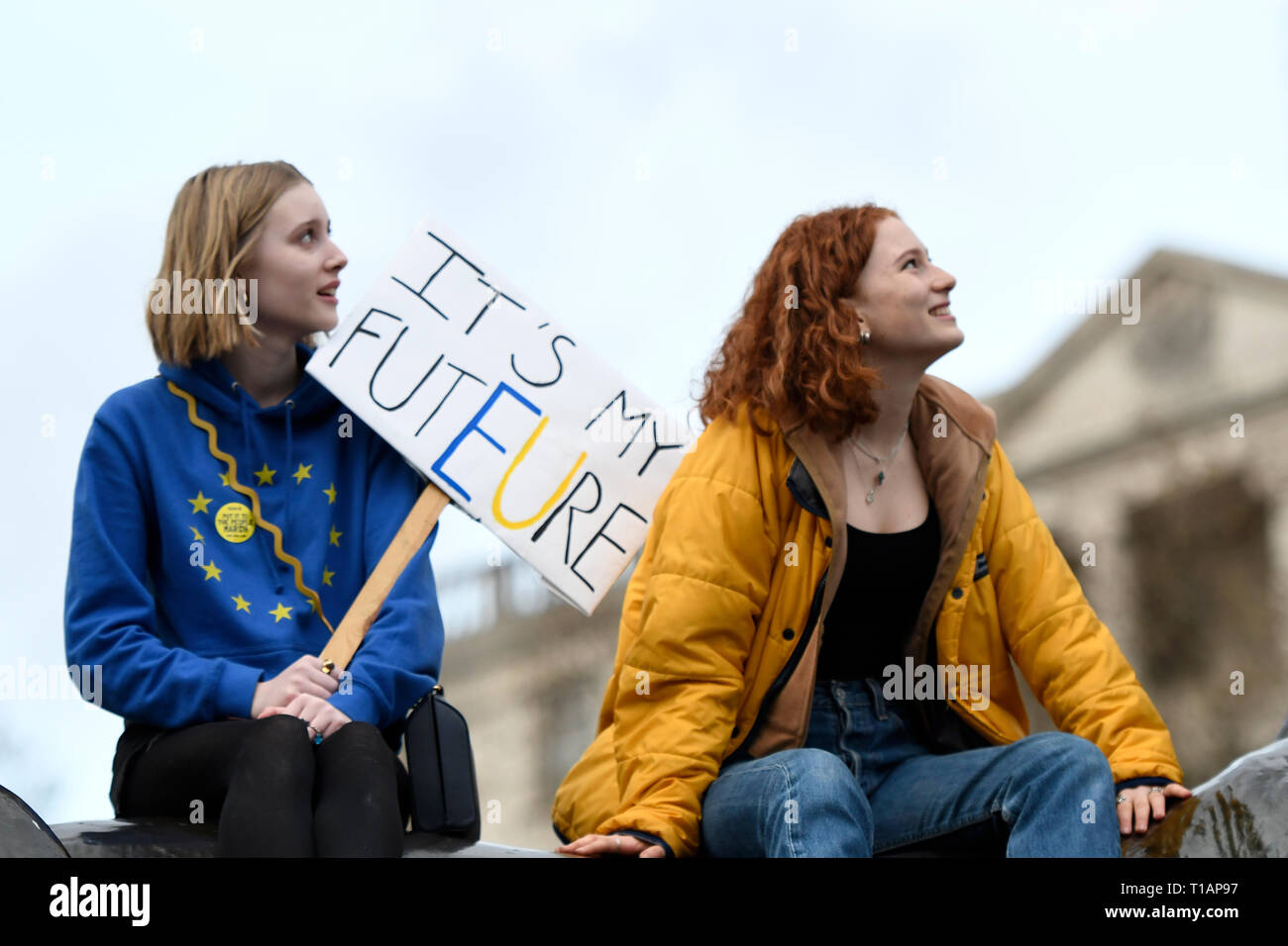 A protester seen holding a placard that says 'It's my futEUre' during the Put it to the demonstration. Over a million people marched peacefully in central London in favor of a second referendum. People gathered at Park Lane to rally at Parliament Square to demonstrate against the Tory government's Brexit negotiations, and to demand a second vote on the final Brexit deal. March was organized by The Peoples Vote. - Stock Image