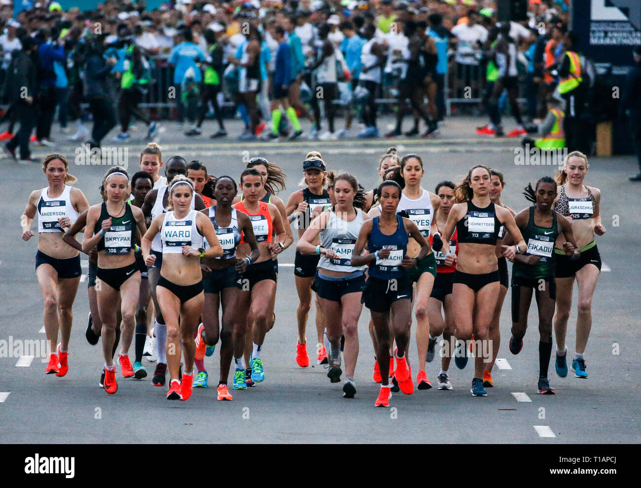 Los Angeles, USA. 24th Mar, 2019. Women elite runners start the race from Dodger Stadium during the 34th LA Marathon in Los Angeles, the United States, March 24, 2019. Credit: Zhao Hanrong/Xinhua/Alamy Live News - Stock Image