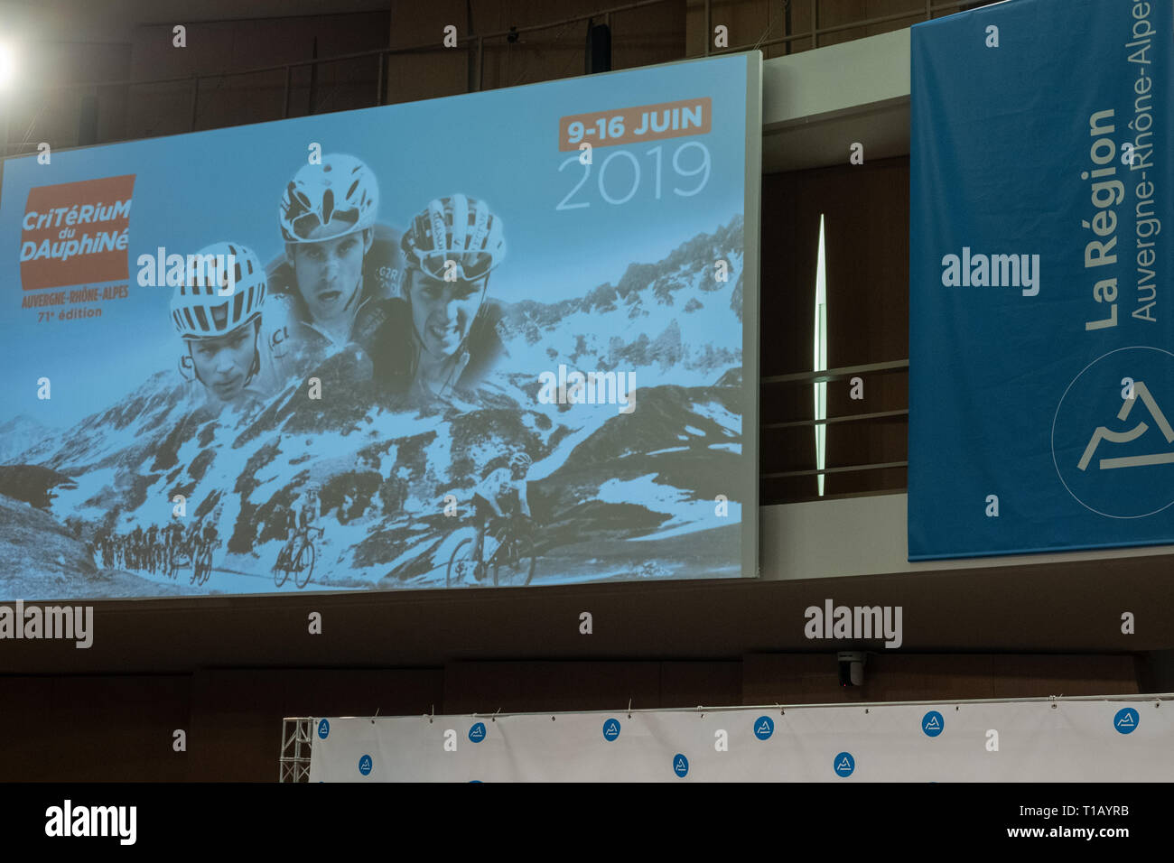 Lyon, France. 25th March, 2019. Poster of the 71st edition of Critérium du Dauphiné (from 09 to 16 June 2019) Credit: FRANCK CHAPOLARD/Alamy Live News Stock Photo