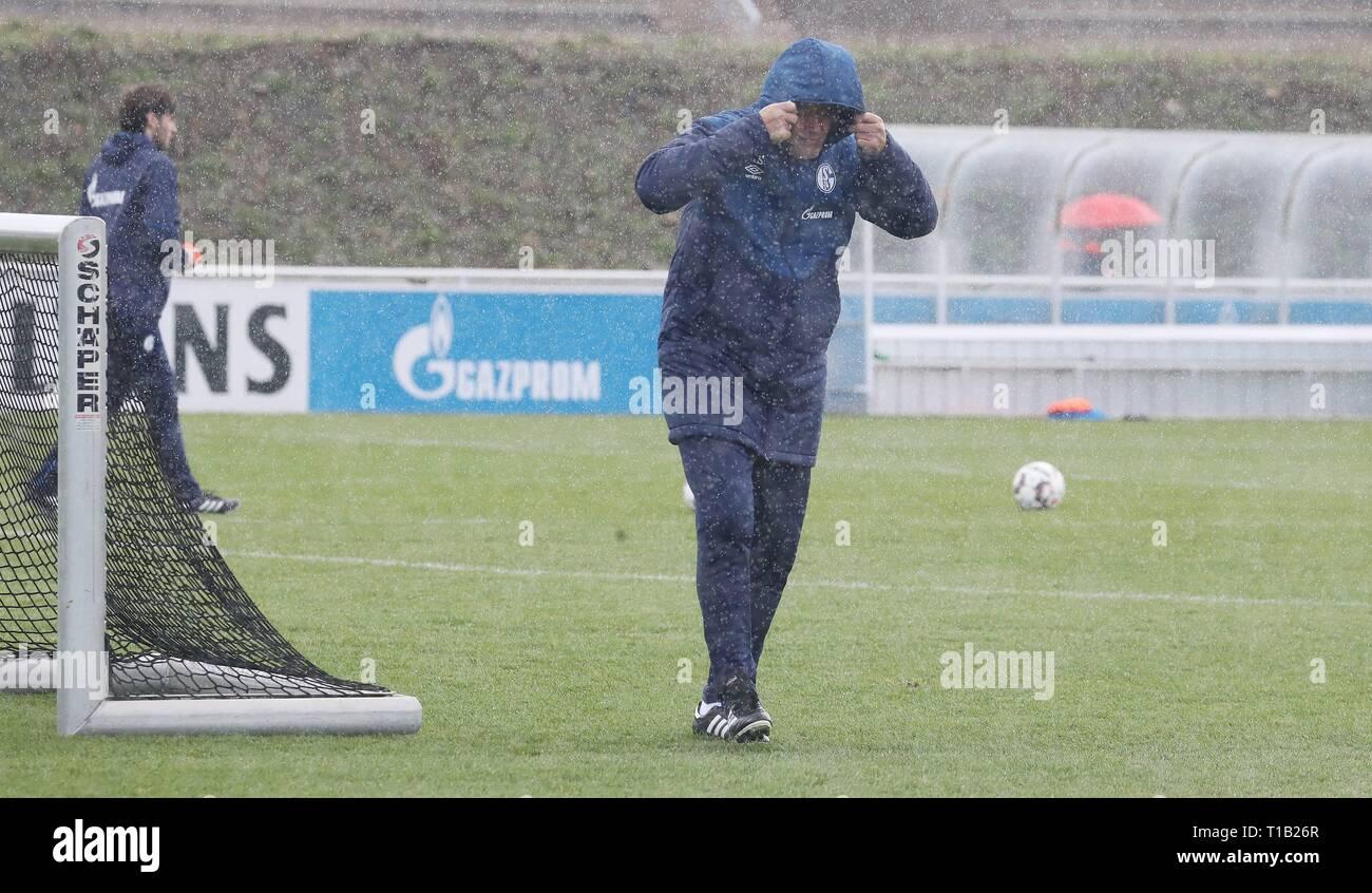 firo: 25.03.2019, Football, 2018/2019, 1.Bundesliga: FC Schalke 04 - Training In the rain coach Huub Stevens   usage worldwide - Stock Image