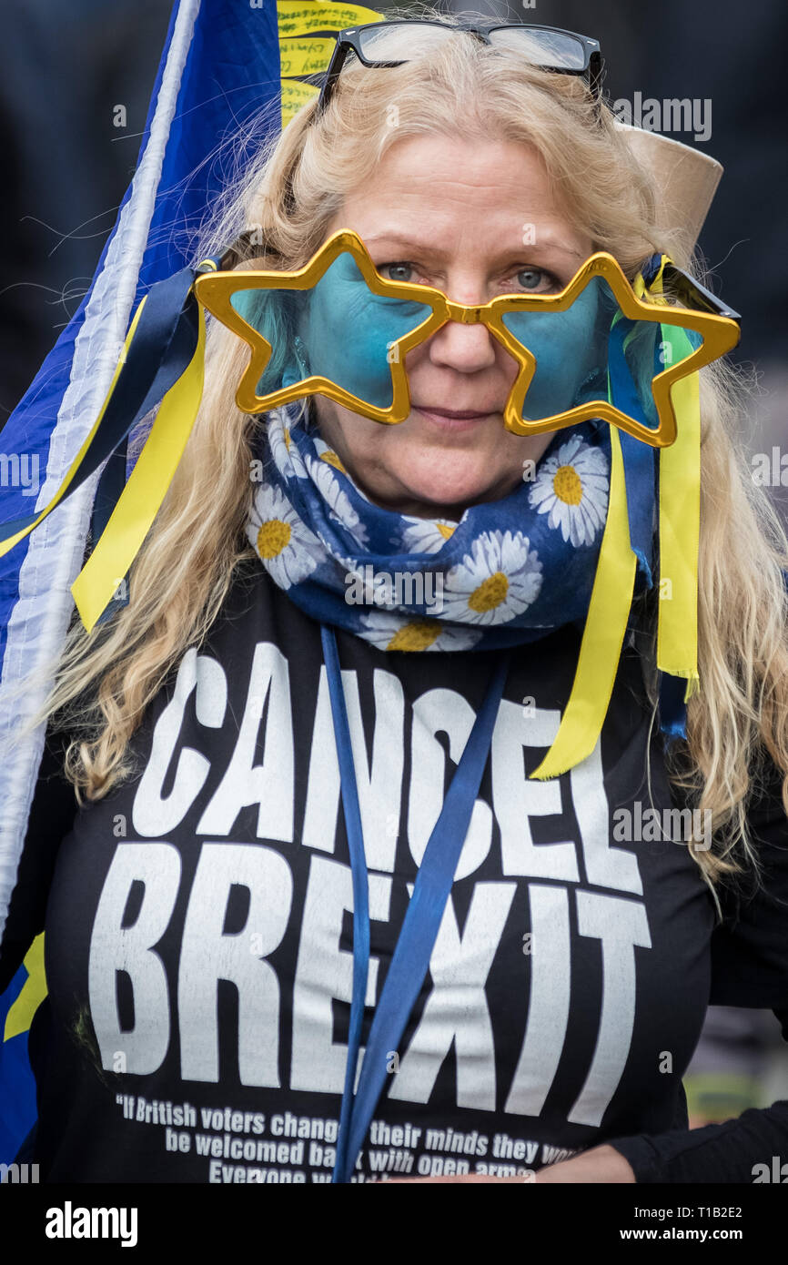 London, UK. 23rd March 2019. Brexit People's Vote March. Tens of thousands of pro-EU supporters attend a mass march to Westminster demanding the public get a final say on any Brexit deal. Credit: Guy Corbishley/Alamy Live News - Stock Image