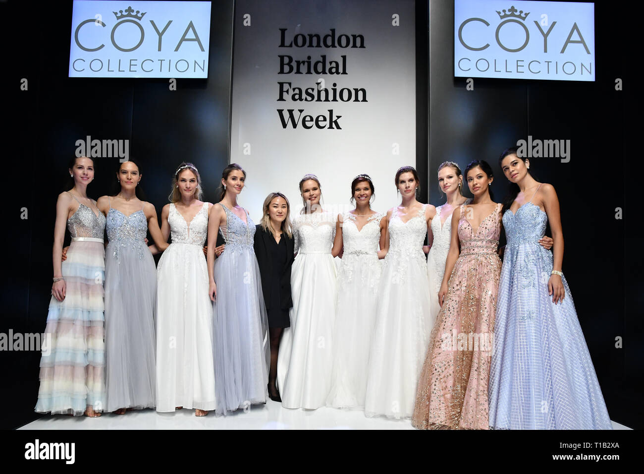 London, UK. 25th Mar 2019. Coya Collection at White Gallery at London Bridal Fashion Week at London Excel on 25 March 2019, UK. Credit: Picture Capital/Alamy Live News - Stock Image