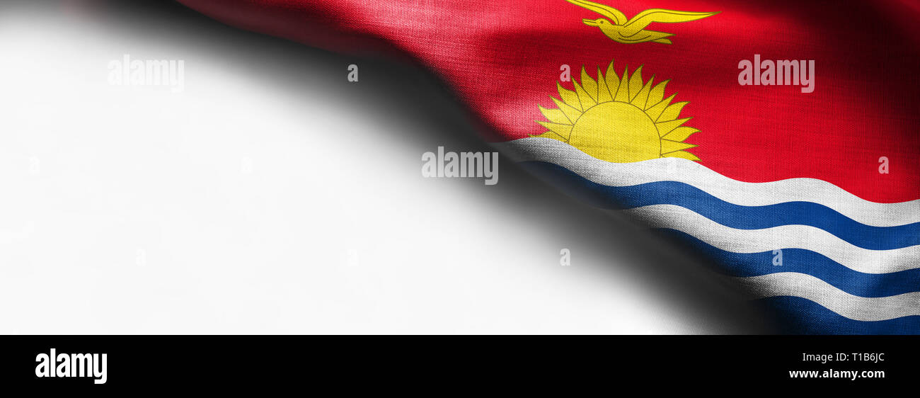 The national flag of Kiribati in the South Pacific on white background - right top corner Stock Photo