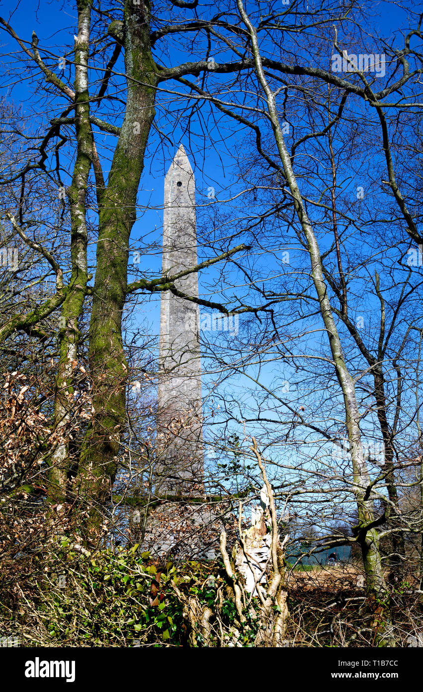 The monument to the duke of Wellington celebrating the victory of the battle of Waterloo, seen through trees and under a blue sky. - Stock Image