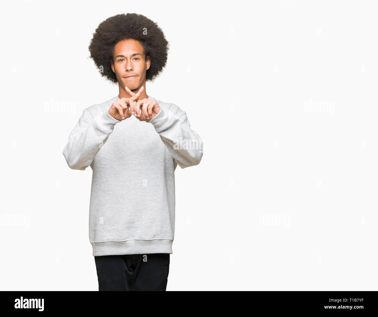 Young African American Man With Afro Hair Wearing Sporty