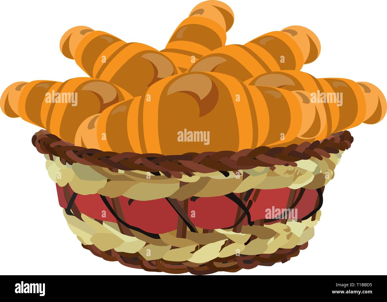 Wicker basket with croissants, vector flat illustration - Stock Image