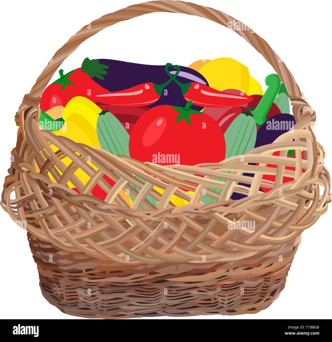 Wicker basket full of fresh vegetables, vector flat illustration - Stock Vector
