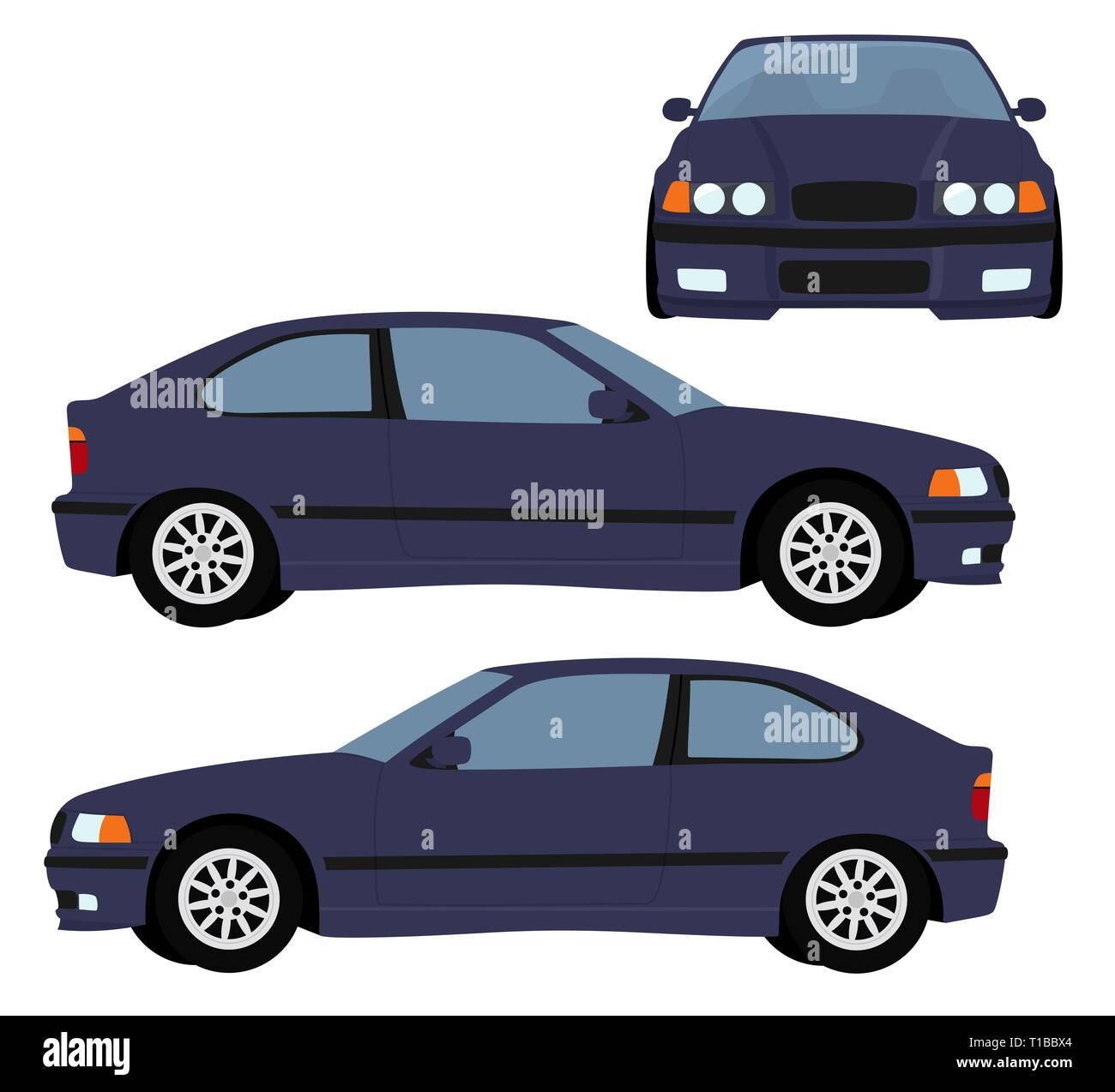 Car Raster template on white background. hatchback car isolated. Vehicle branding mockup. Side, front view. Raster illustration on white background - Stock Image