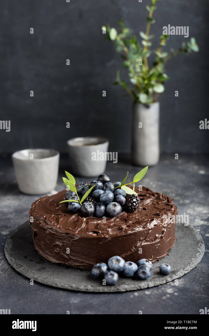 Peachy Tasty Dark Chocolate Cake With Blueberries And Green Leafs Two Funny Birthday Cards Online Necthendildamsfinfo