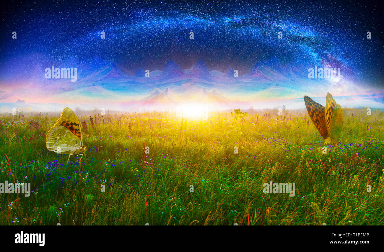 Fantasy landscape with milky way and butterflies - Stock Image