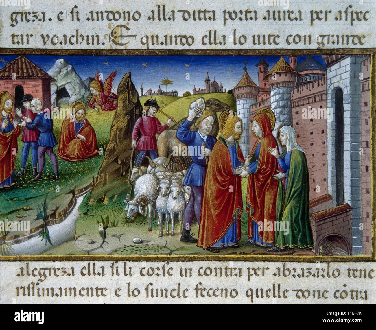 Cristofor de Predis (1440-1486). Italian miniaturist. Miniature depicting the encounter between Saint Anne and Saint Joachim. Codex de Predis, 1476. Royal Library. Turin. Italy. - Stock Image