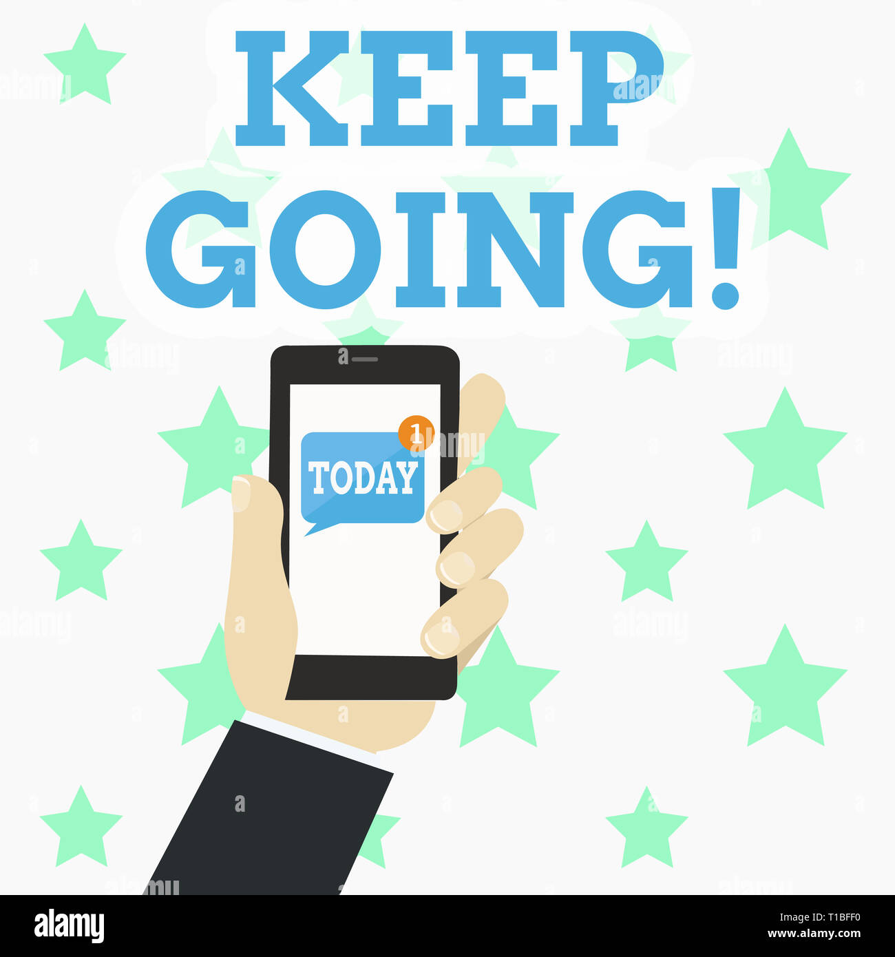 Writing note showing Keep Going. Business concept for make effort to live normally in spite of difficulty situation Human Hand Holding Smartphone with - Stock Image