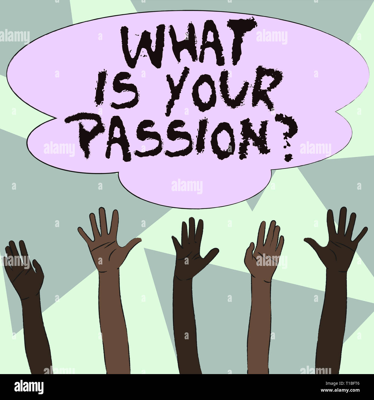 Text sign showing What Is Your Passion Question. Business photo showcasing asking about his strong and barely controllable emotion Multiracial Diversi - Stock Image