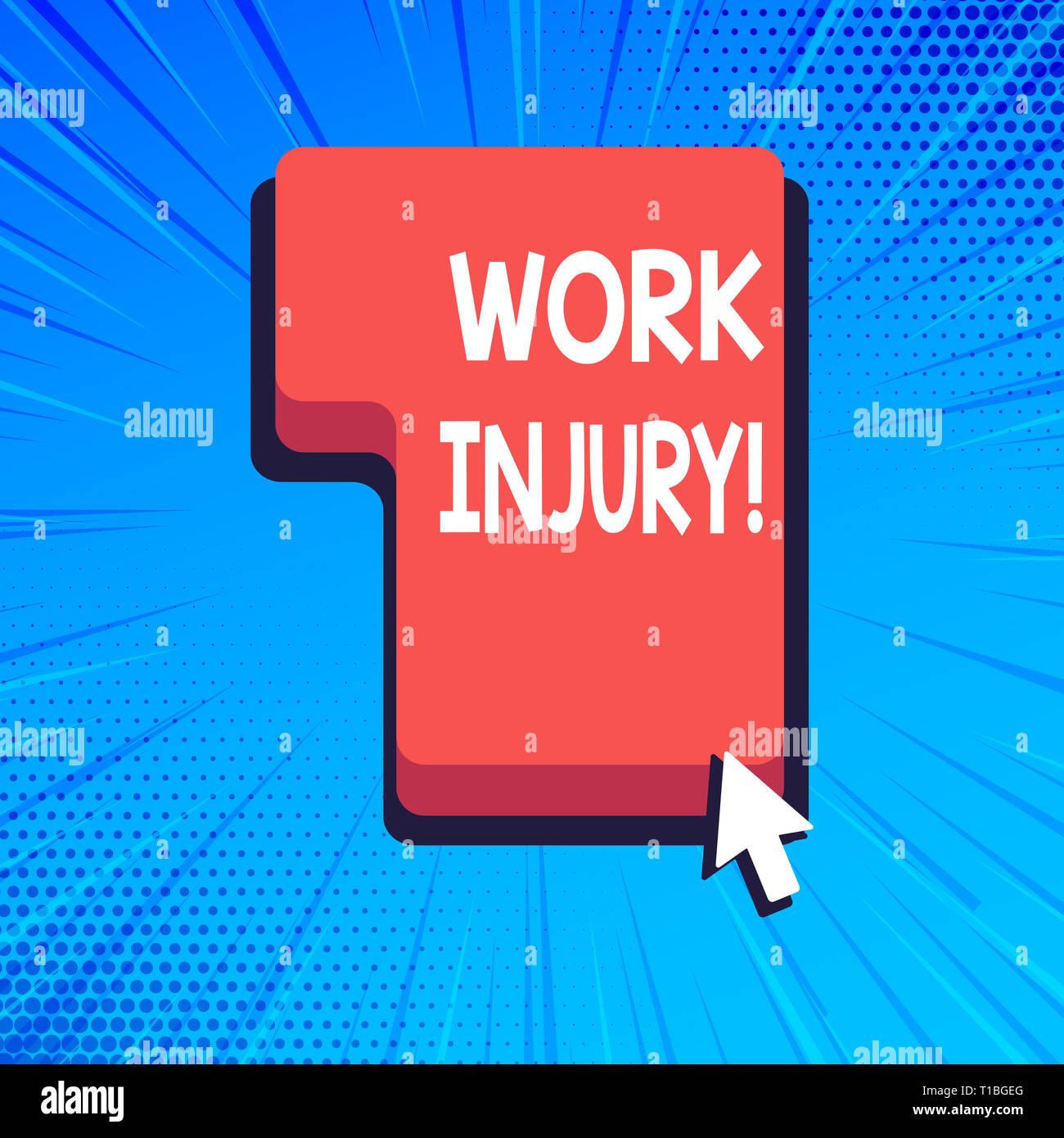 Writing note showing Work Injury. Business concept for accident that occurred during and as result of working Direction to Press or Click Command Key  - Stock Image