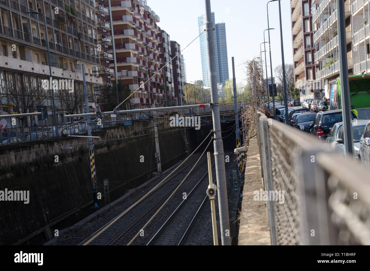 Railway at Maggiolina district in Milano. March 20th, 2019 - Stock Image