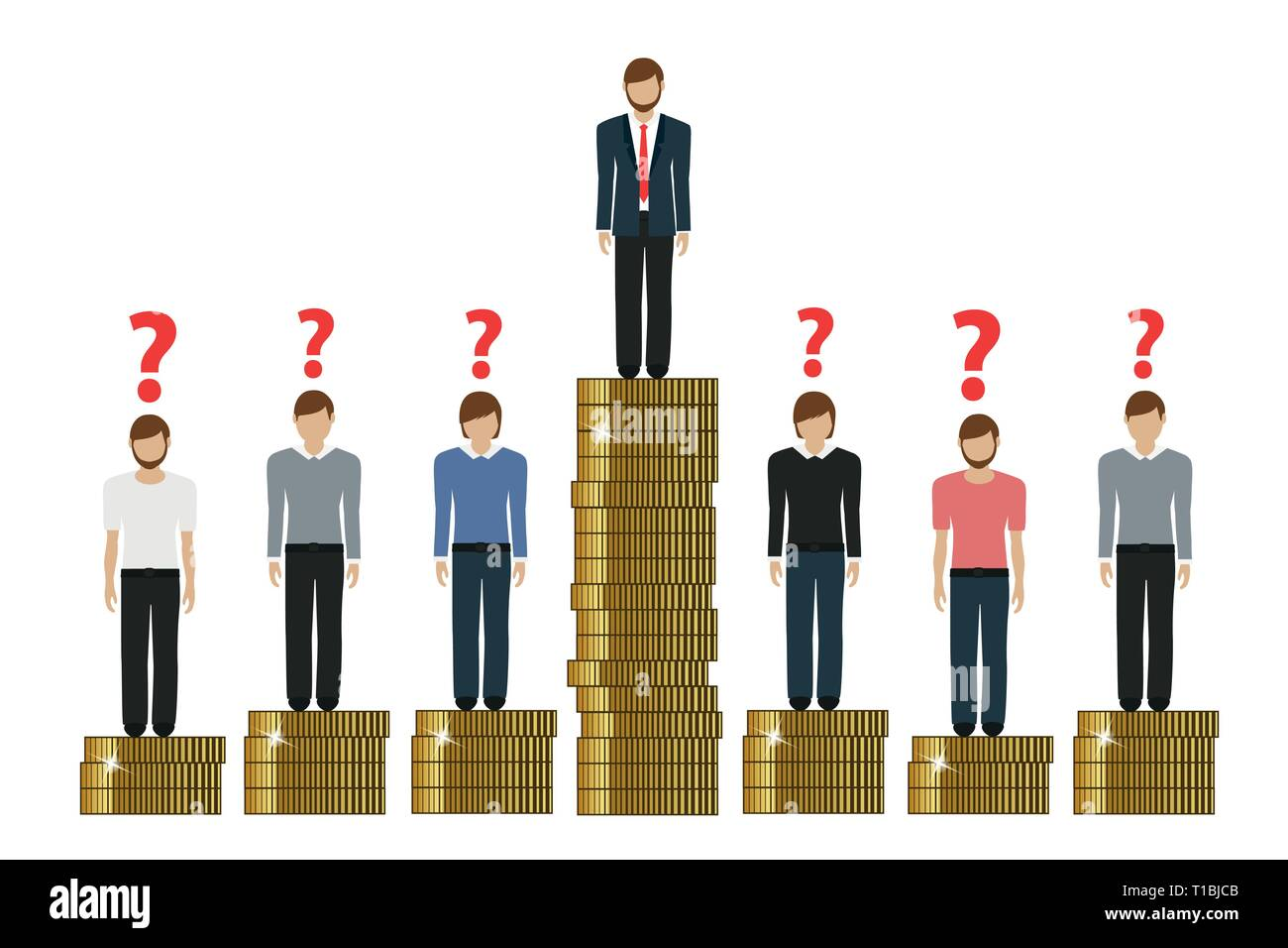 gap between rich and poor work finance concept with coins vector illustration EPS10 - Stock Image