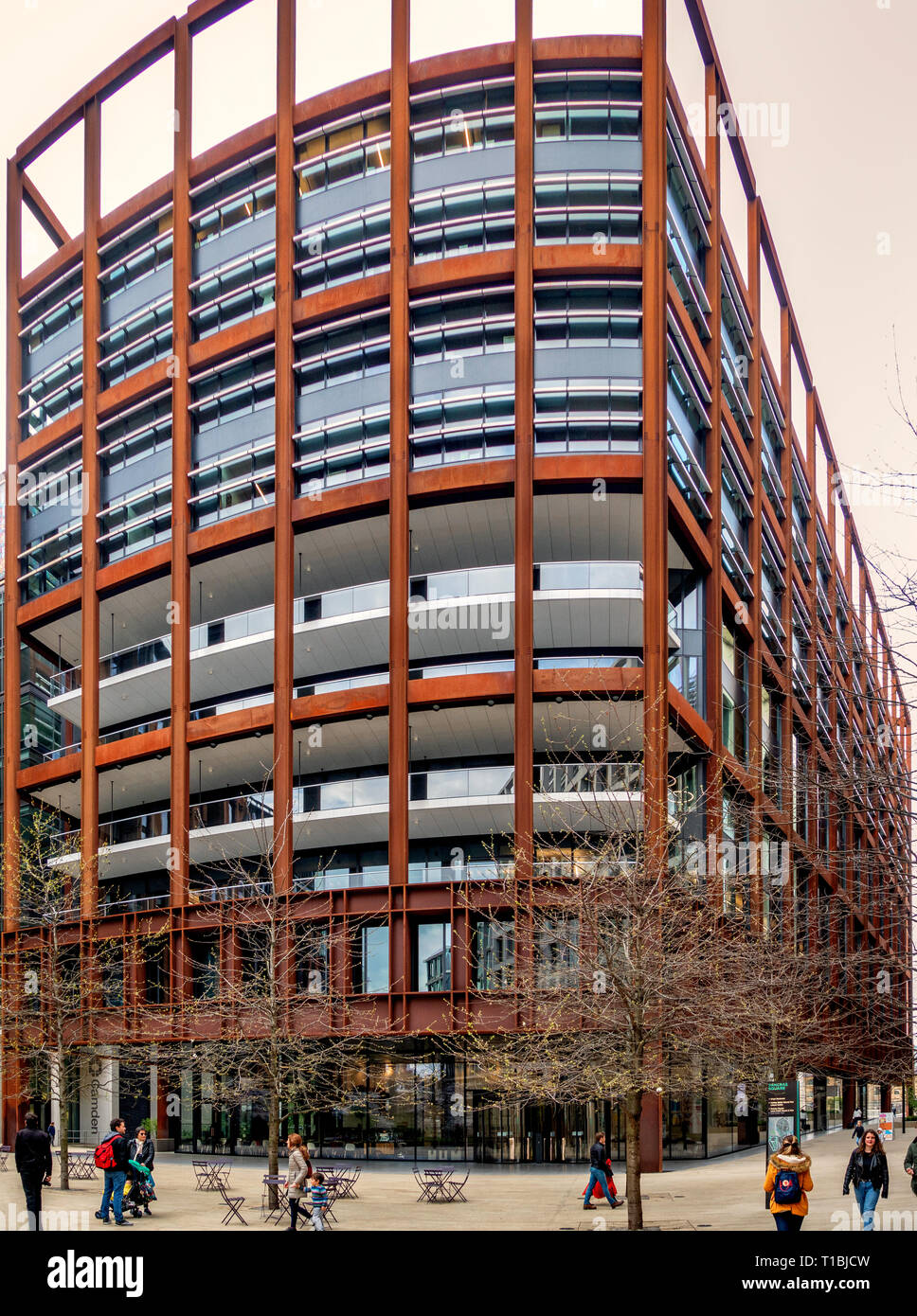 Universal Music New London office at four Pancras Square, Kings Cross, London constructed of fabricated weathering steel - Stock Image