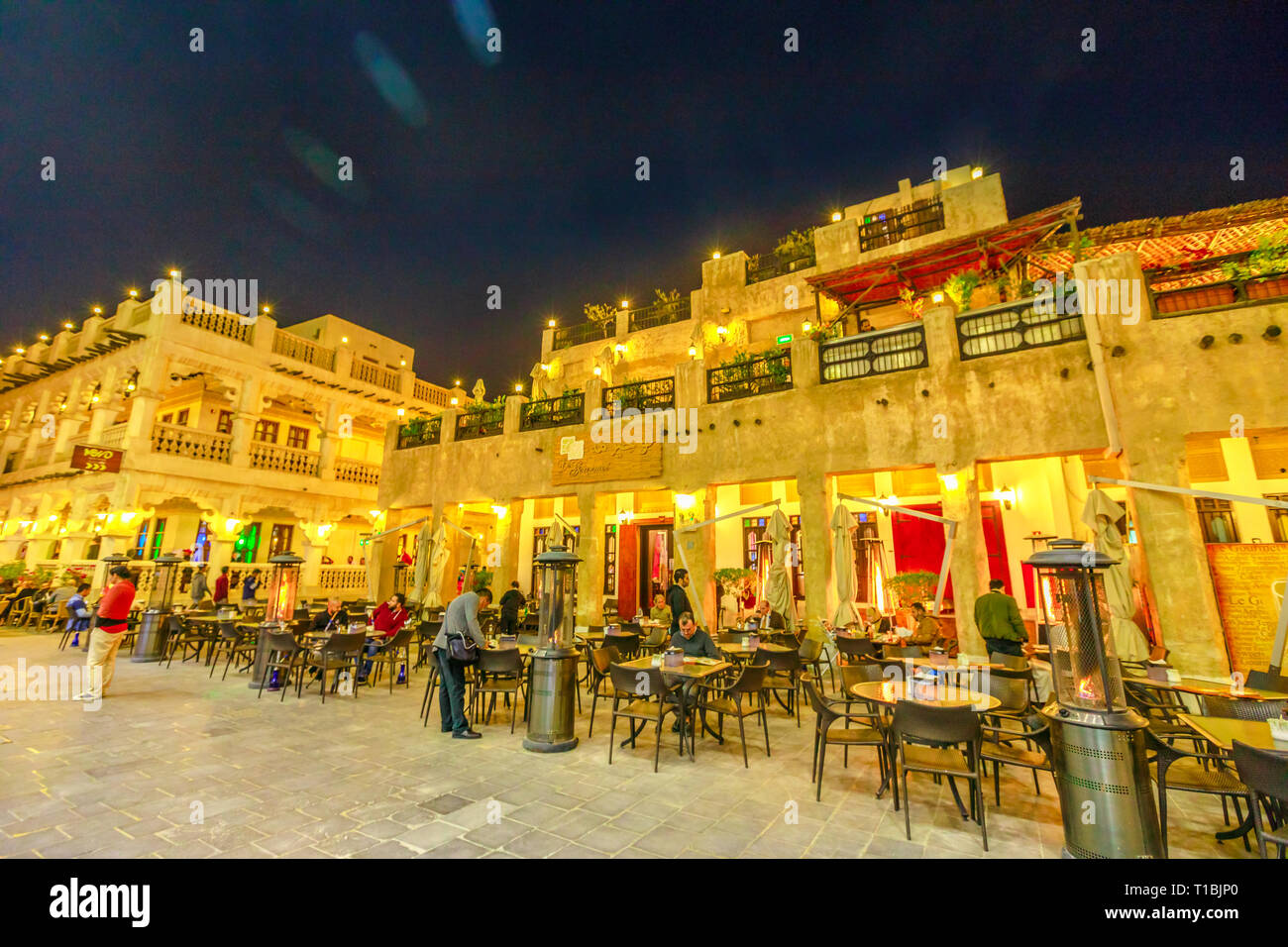 Doha, Qatar - February 17, 2019: historic buildings with traditional