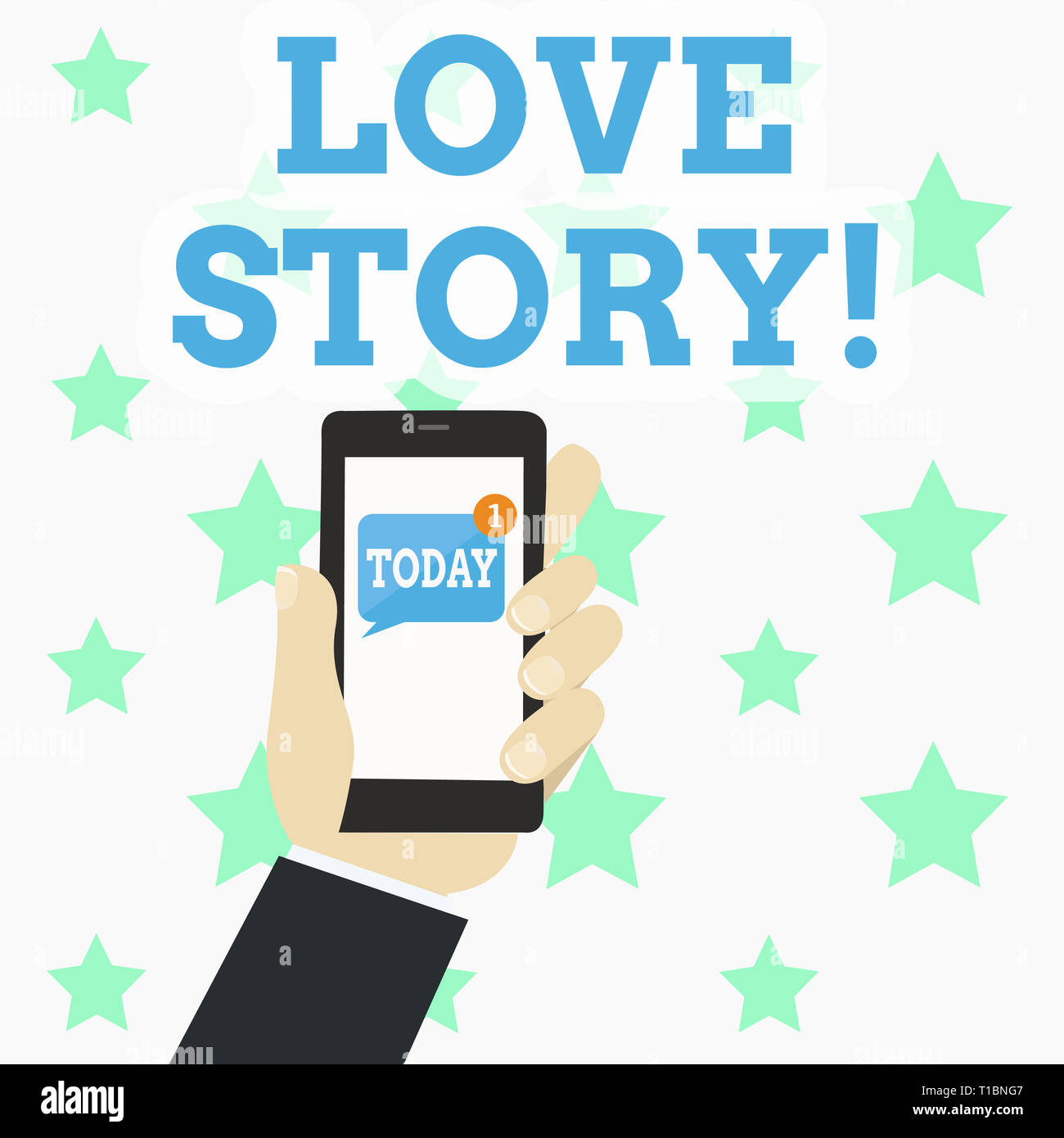 Writing note showing Love Story. Business concept for novel about relationship between two demonstratings analysis Human Hand Holding Smartphone with  - Stock Image