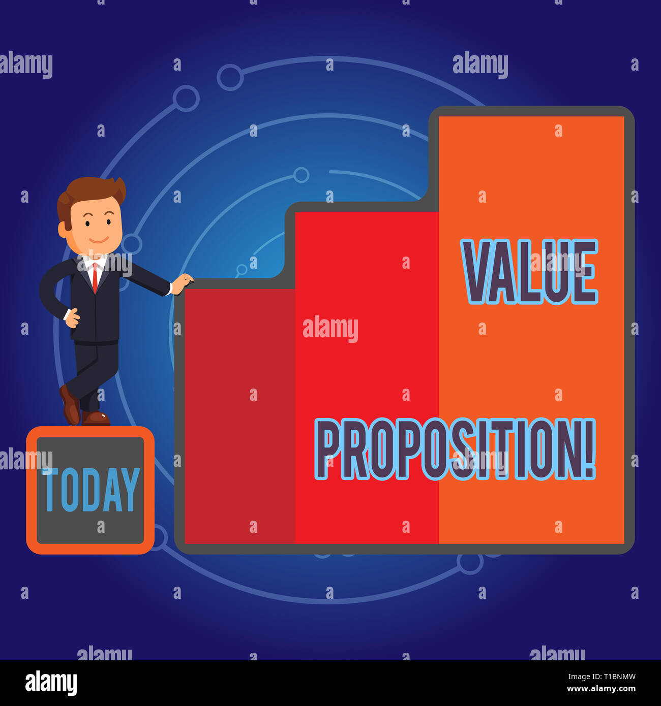 Writing note showing Value Proposition. Business concept for innovation service intended make product attractive Businessman Presenting Growth and Suc Stock Photo