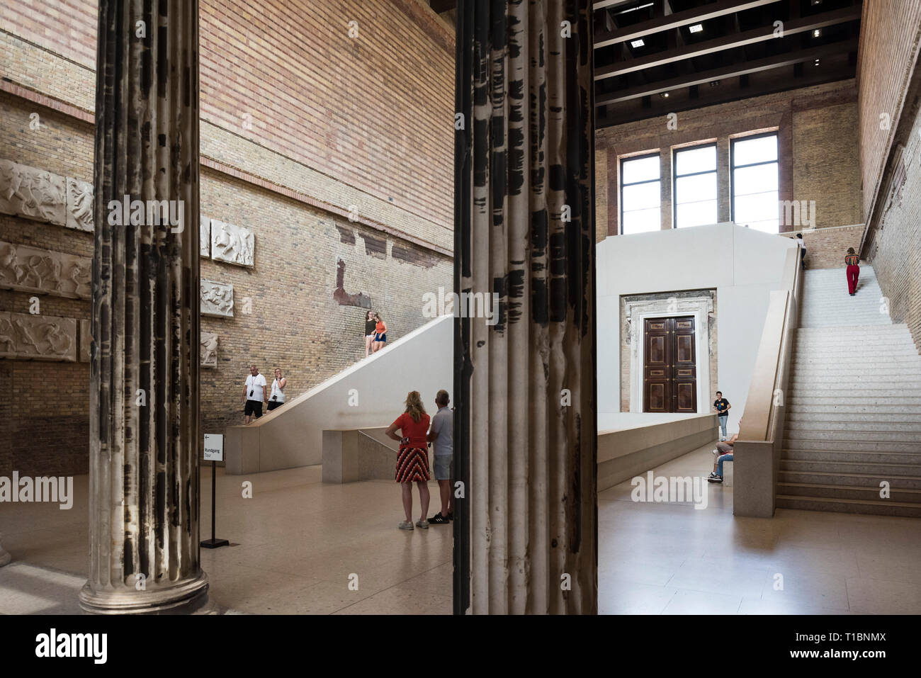 Berlin. Germany. The Neues Museum (New Museum), Museum Island, main staircase hall by David Chipperfield Architects in collaboration with Julian Harra Stock Photo