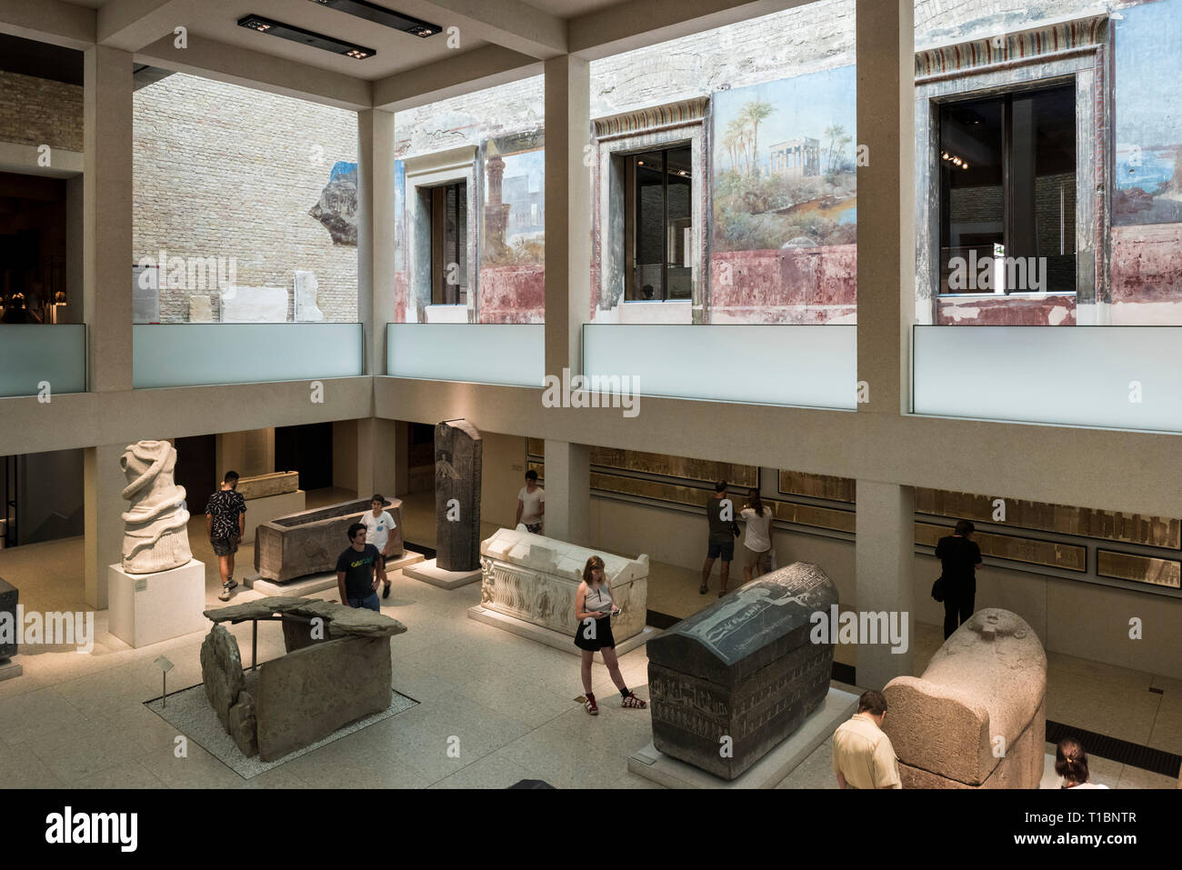 Berlin. Germany. The Neues Museum (New Museum), Museum Island, the Egyptian Courtyard.  The Neues Museum exhibits the collections of the Egyptian Muse Stock Photo