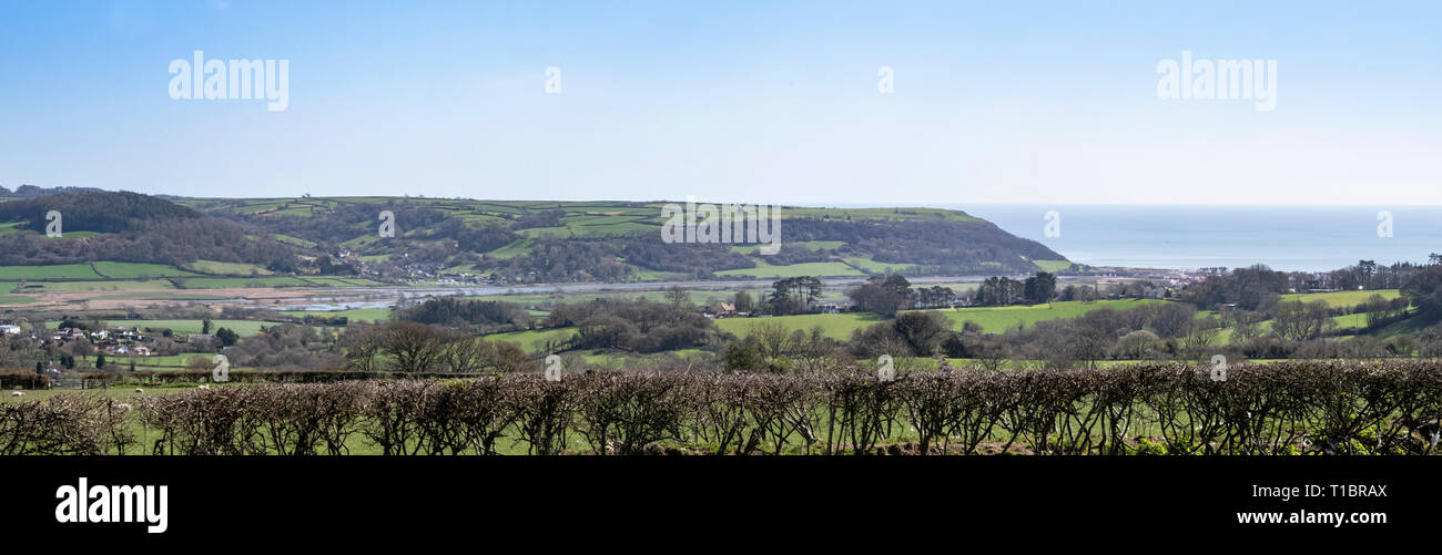 View over the Axe Valley, Axmouth and Seaton, from a hilltop near Colyton, Devon. - Stock Image