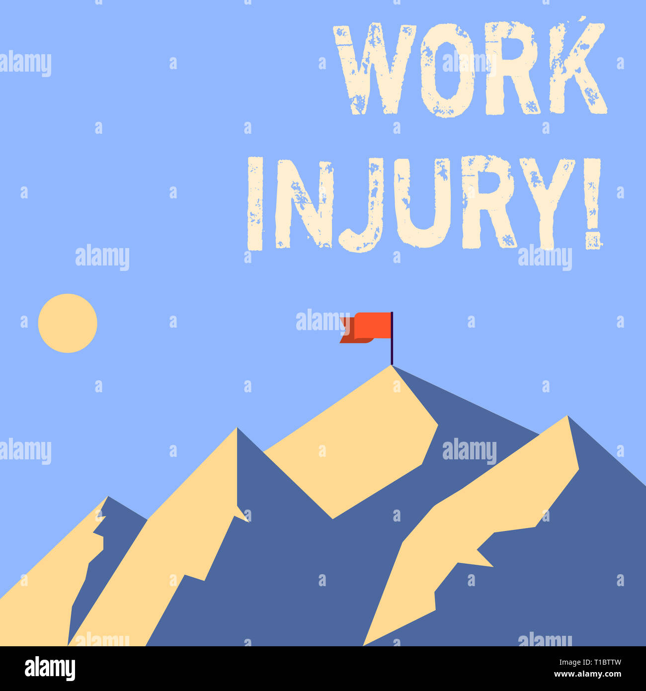 Word writing text Work Injury. Business photo showcasing accident that occurred during and as result of working Mountains with Shadow Indicating Time  - Stock Image