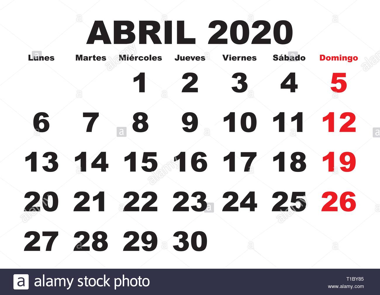 Calendario 2020 Abril.April Month In A Year 2020 Wall Calendar In Spanish Abril 2020