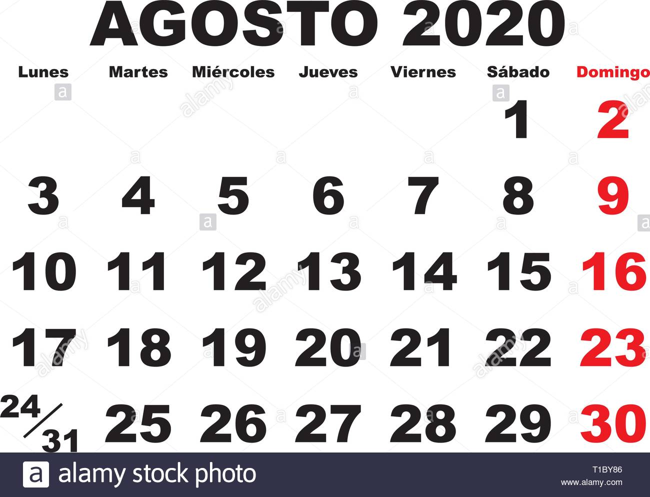 Calendario Agosto 2020.August Month In A Year 2020 Wall Calendar In Spanish Agosto