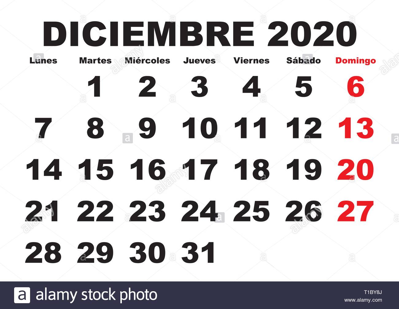 Calendario Diciembre 2020.December Month In A Year 2020 Wall Calendar In Spanish