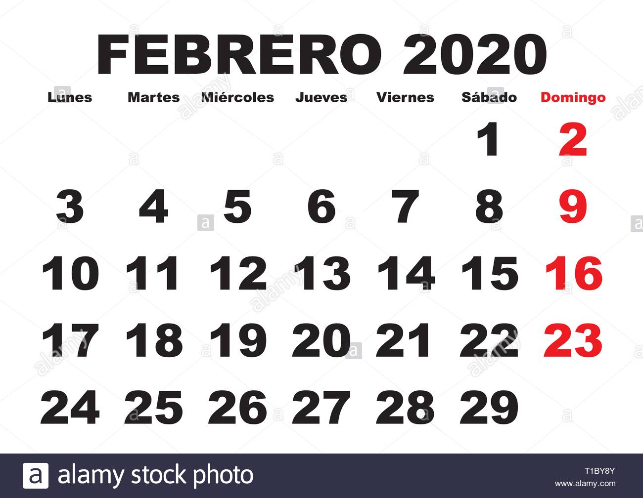 February 2020 Spanish Calendar Calendario 2020 Stock Photos & Calendario 2020 Stock Images   Alamy