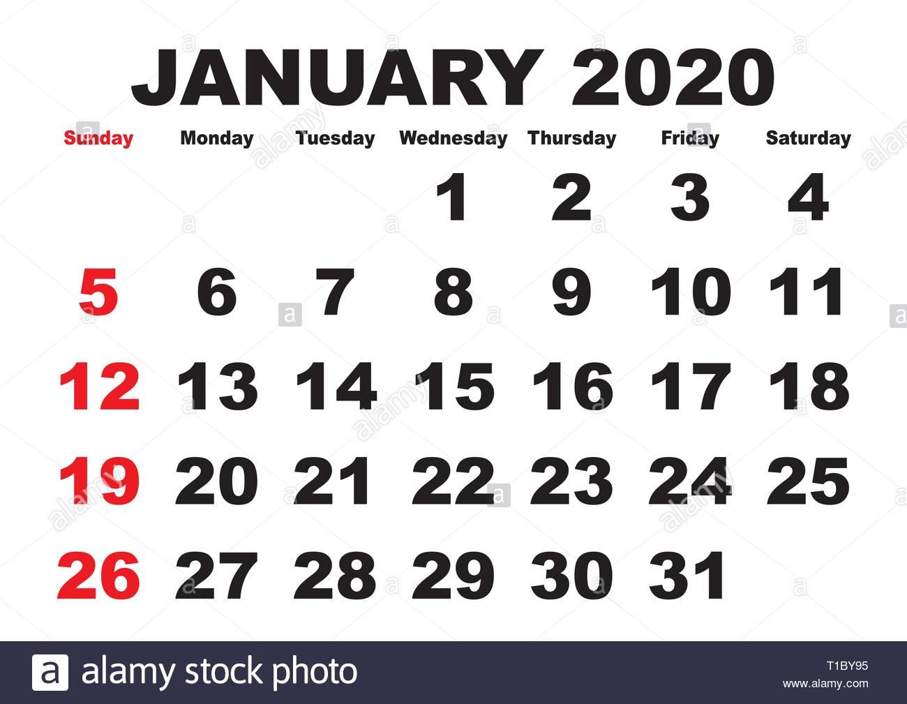 Printable Calendar January Weeks 2020 2020 calendar January month. Vector printable calendar. Monthly