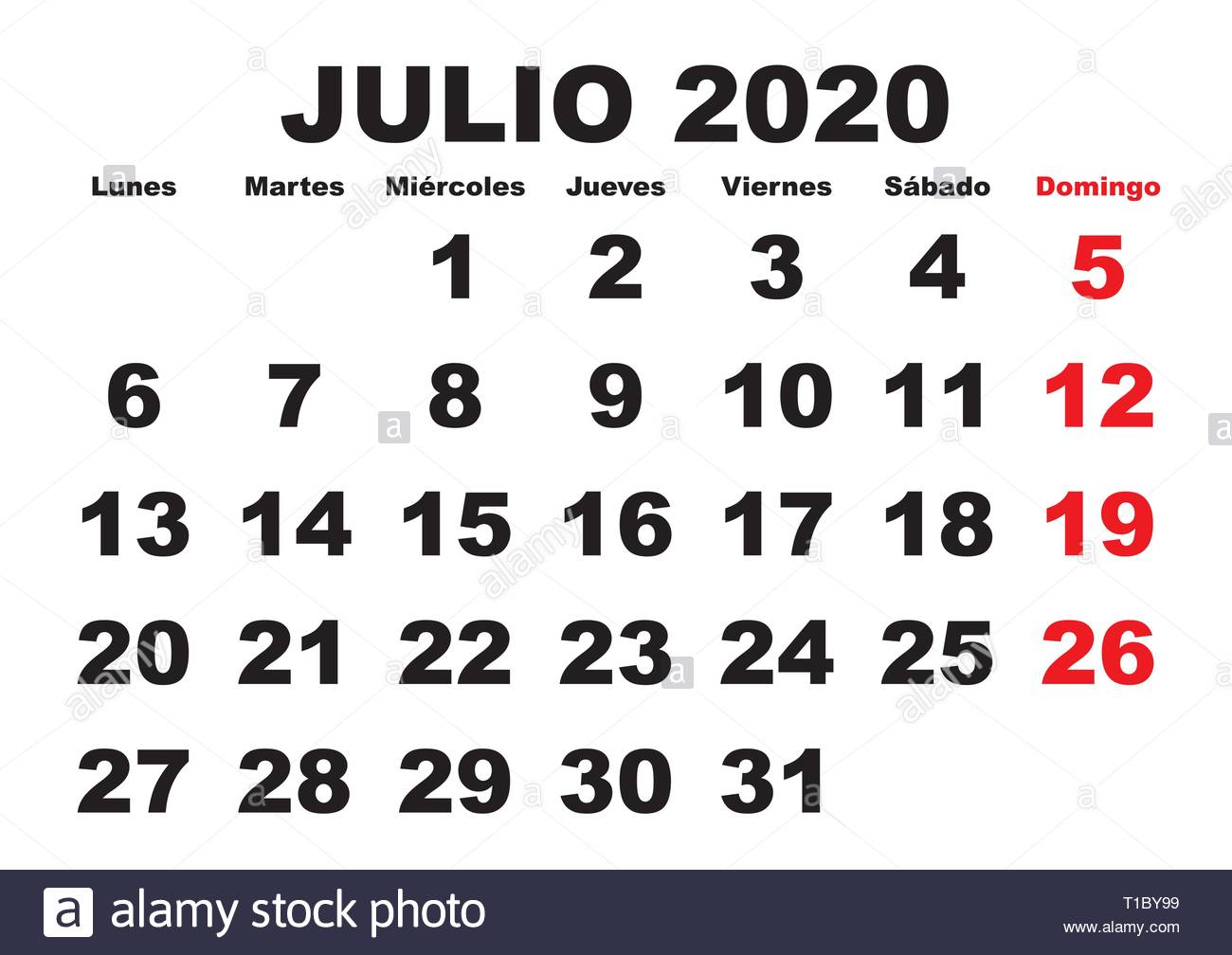 Layout Calendario 2020.July Month In A Year 2020 Wall Calendar In Spanish Julio