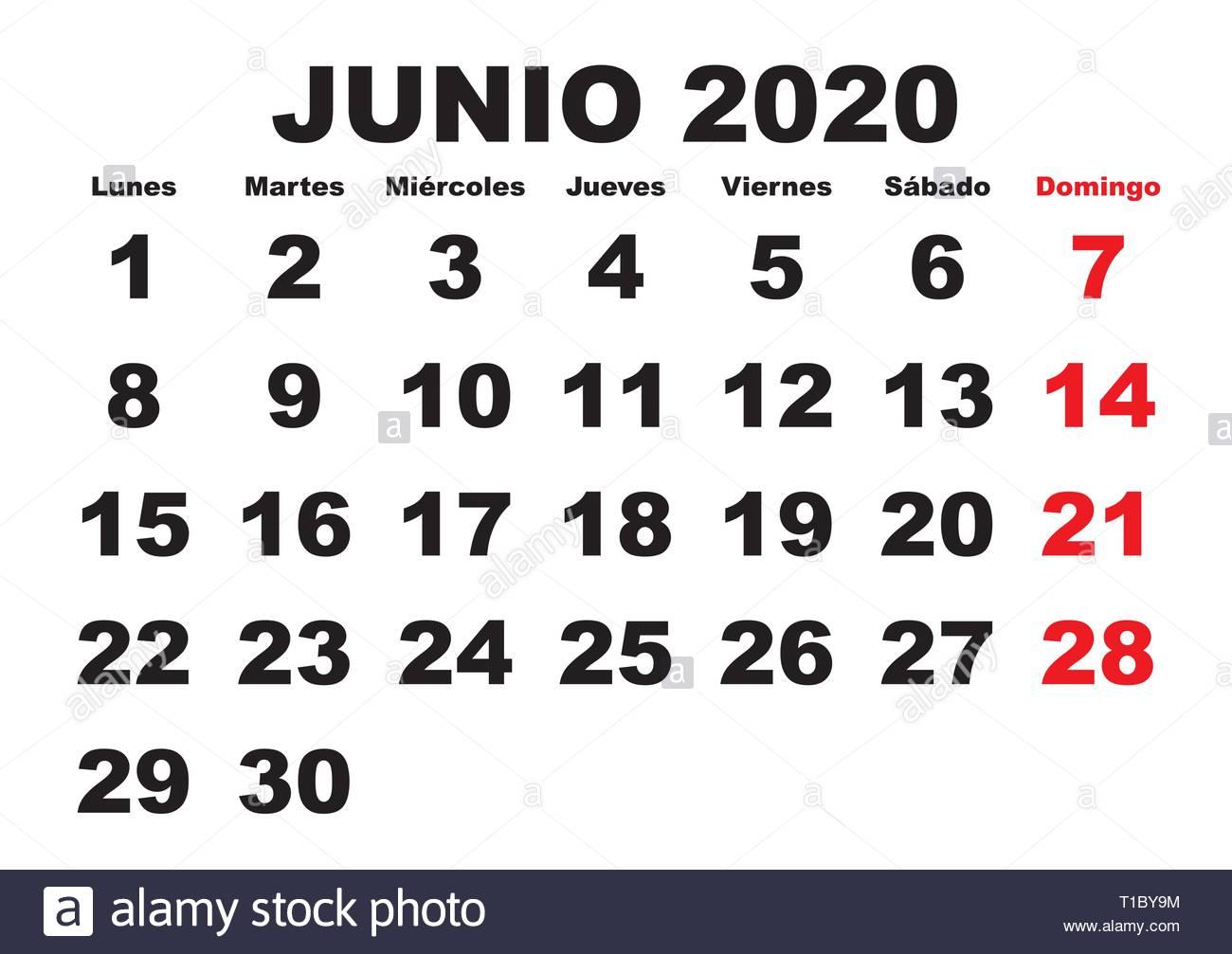 Calendario 2020 2020.June Month In A Year 2020 Wall Calendar In Spanish Junio