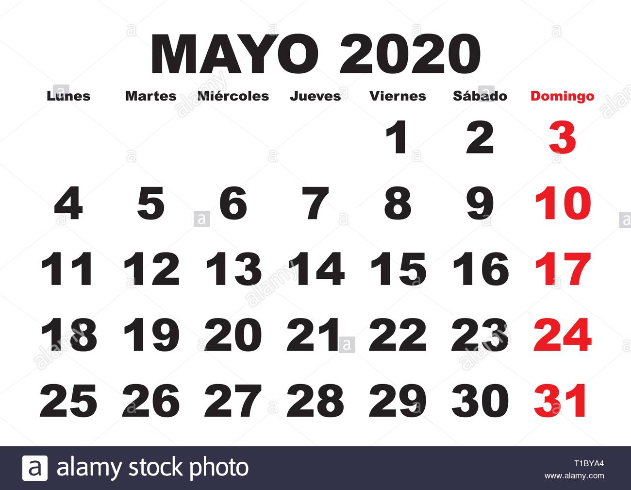 Mayo Calendario 2020.May Month In A Year 2020 Wall Calendar In Spanish Mayo 2020