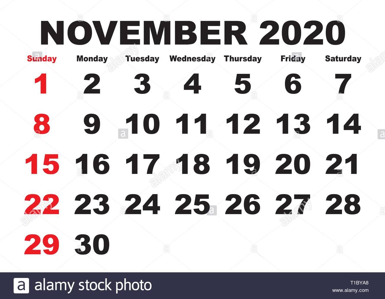 November Calendar 2020 Printable.2020 Calendar November Month Vector Printable Calendar