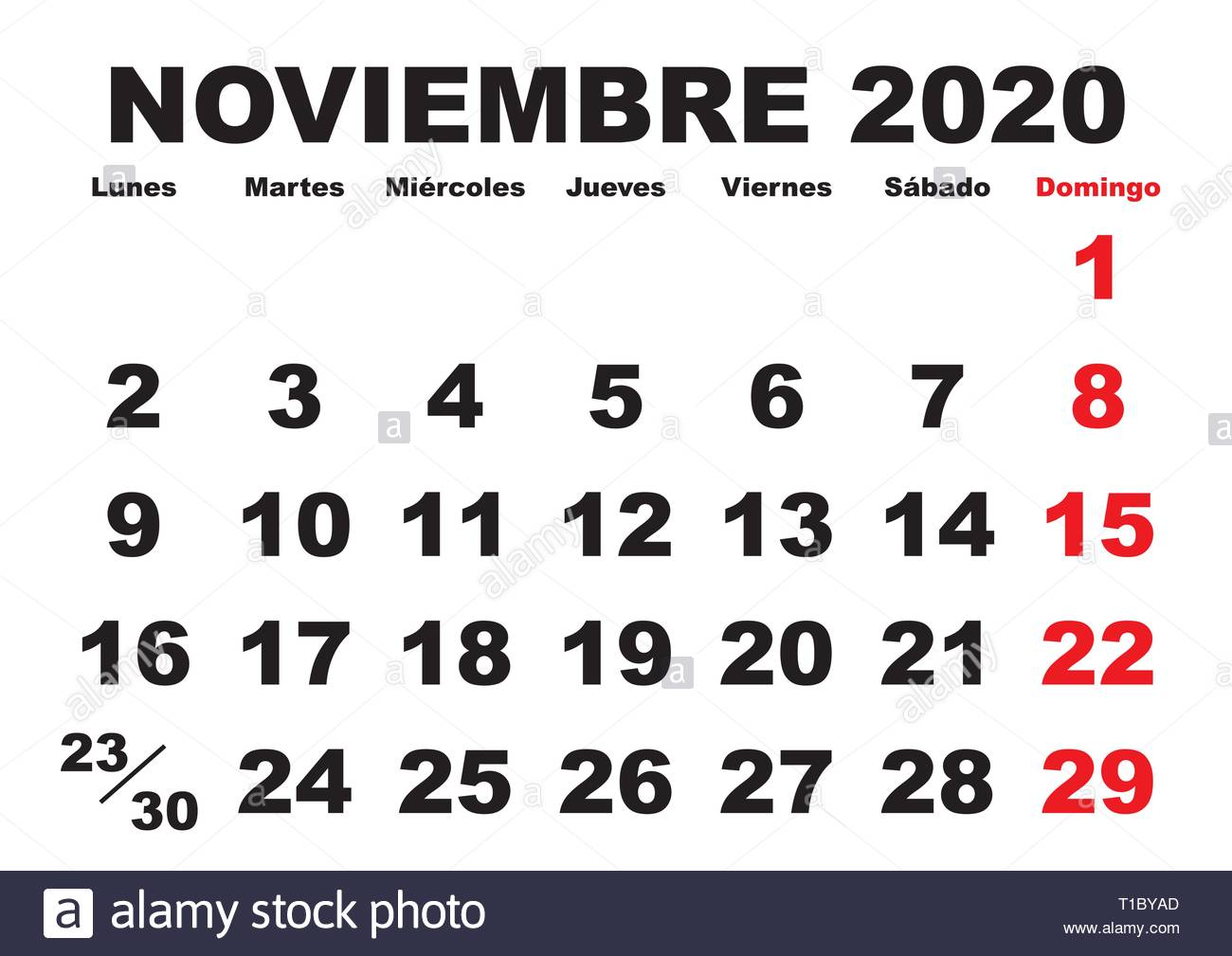 Calendario 2020 2020.November Month In A Year 2020 Wall Calendar In Spanish