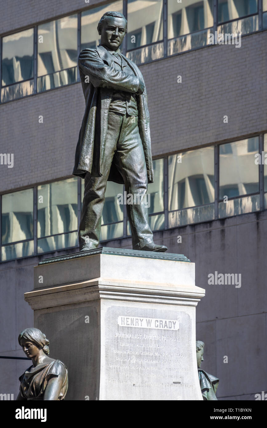 "Bronze statue (1891) of ""New South"" proponent and newspaper editor Henry W. Grady (1850–1889) by sculptor Alexander Doyle in downtown Atlanta, GA. - Stock Image"